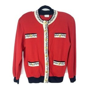Neiman Marcus red vintage sweater with gold button